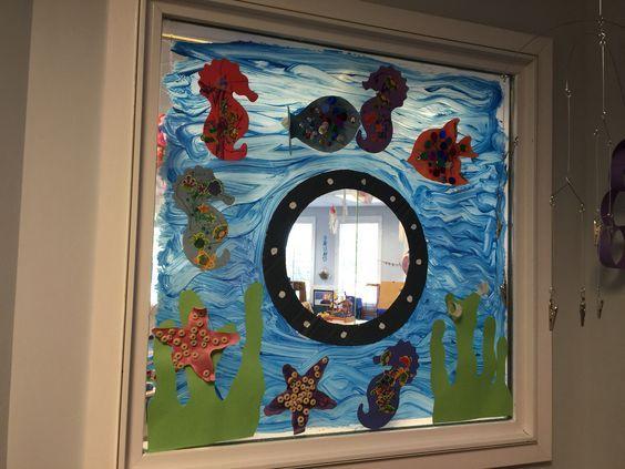 under the sea theme | classroom door and window decorations | Classroom, Classroom window, Under the sea theme