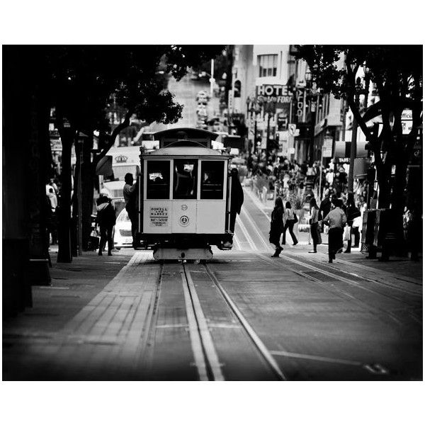 Black and white cable car photography - San Francisco art -SF wall... ($30) ❤ liked on Polyvore