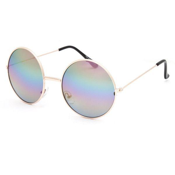 e19600deb7 Full Tilt The One Round Rainbow Sunglasses ( 9.99) ❤ liked on ...