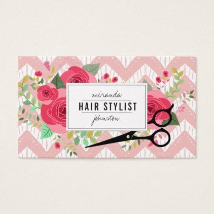 Floral vintage hairstylist hair stylist pink rose business card floral vintage hairstylist hair stylist pink rose business card stylist business card business cards cyo reheart Image collections