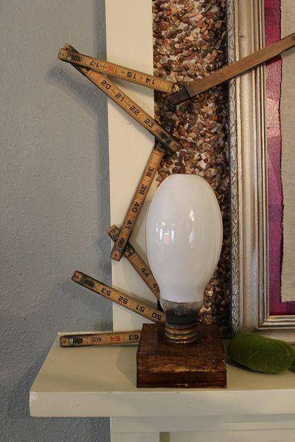 A great way to display old light bulbs.