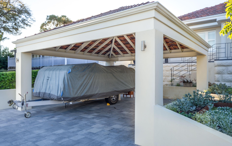 Rendered Brick & Tile Double Carport Carport, Portable