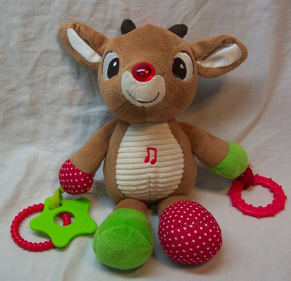 """Rudolph MUSICAL BABY RUDOLPH CARSEAT TOY 8"""" Plush STUFFED"""