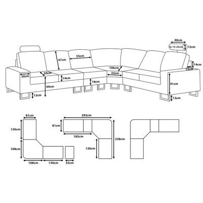 Velago Contemporary Sectional Sofa Fabric Beige Stockholm Canada Online At Shop Ca 12088 Sofa Dimension Oversized Sectional Sofa Sectional Sofa