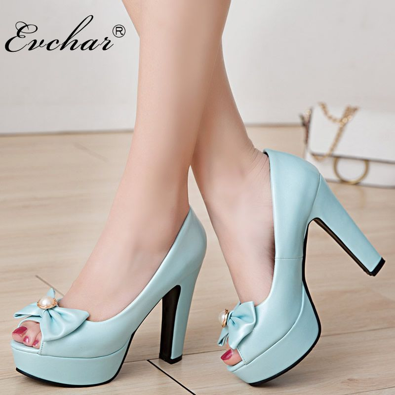 941aaf60df EVCHAR super high heels spring autumn Pumps Sexy Peep toe Thick Platform  Women Pumps butterfly knot Party Shoes big size 34 50-in Women's Pumps from  Shoes ...