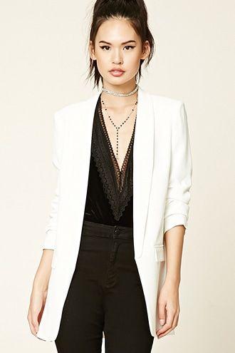 moda más deseable disfruta el precio más bajo más tarde Blazer Largo | forever en 2019 | Blazer blanco mujer ...