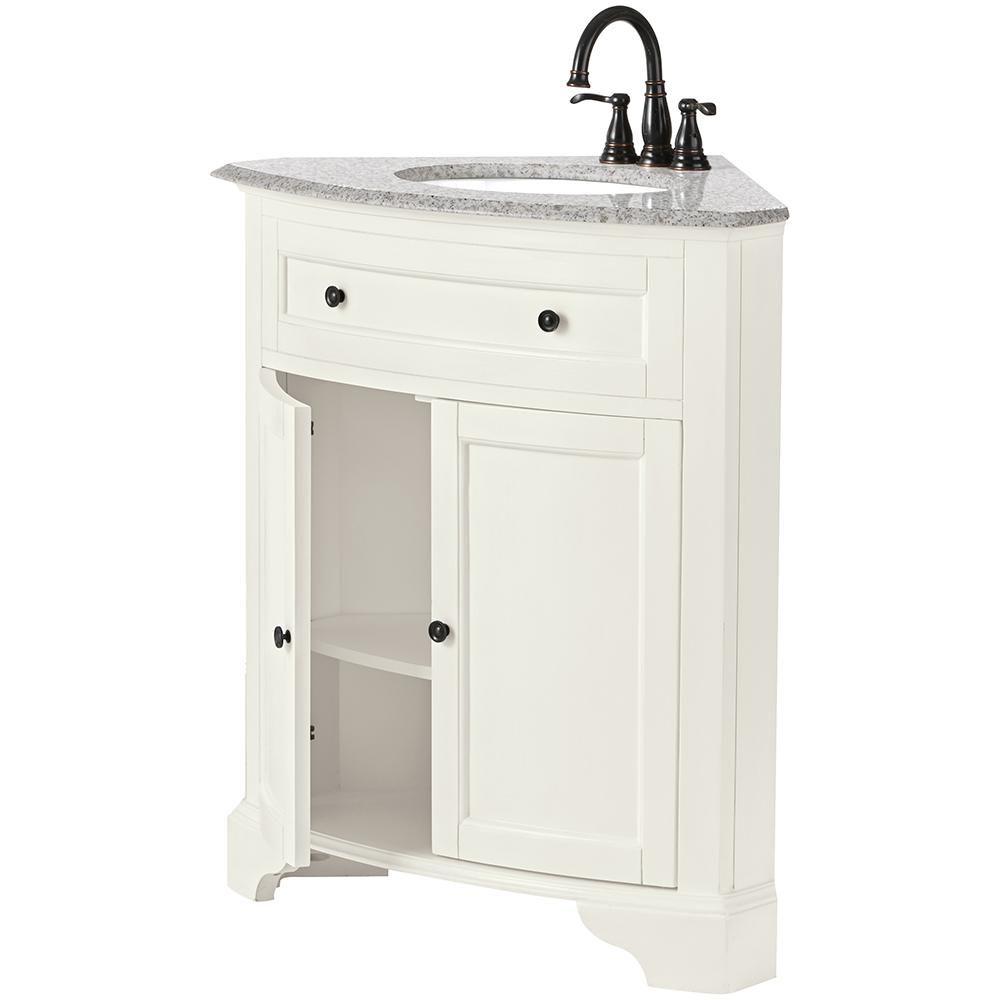 Home Decorators Collection Hamilton 31 In W X 23 In D Corner Bath Vanity In Ivory With Granite Vanity Top In Grey 10809 Cs30h Dw Granite Vanity Tops Corner Bath Vanity