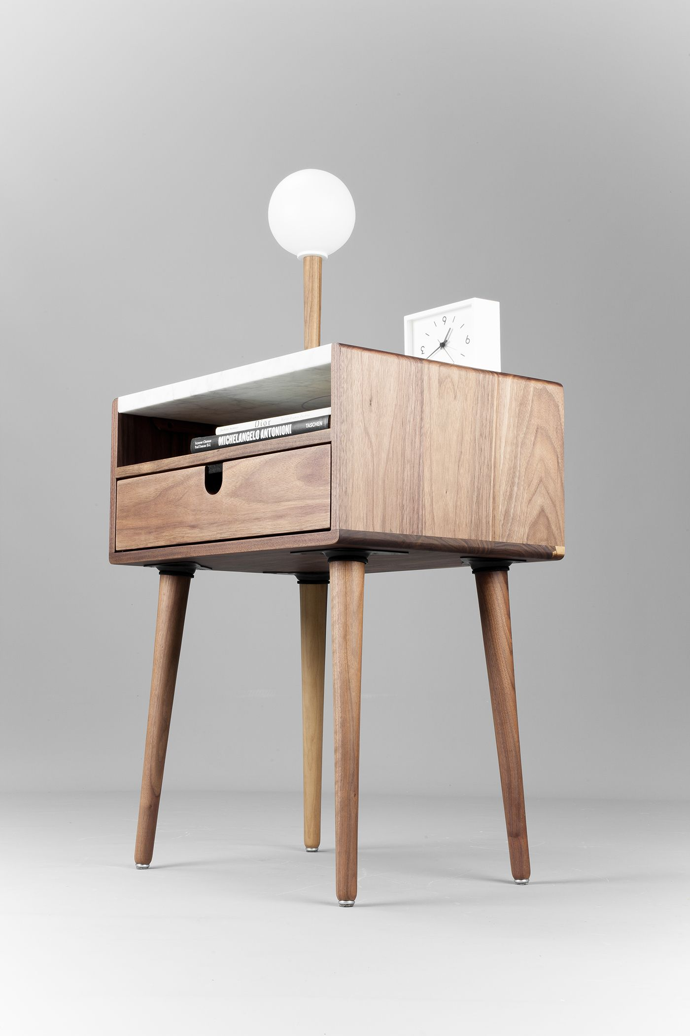 Walnut And Marble Table On Behance Marble Table Walnut Bedside Table Mid Century Nightstand