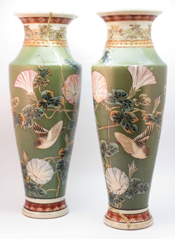 C1920 Fine Pair Antique Early 20thc Japanese Satsuma Vases Kintsugi