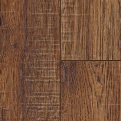 Bar flooring option Home Decorators Collection Distressed Brown Hickory 12  mm x in. x in. Laminate Flooring sq. ft. at The Home Depot - Lay The Ground Work In Your Kitchen With This Home Decorators