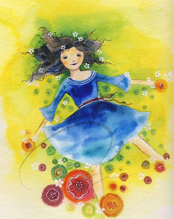 Sun Child - Watercolor Art Giclee Print Cute Girl Spring ...