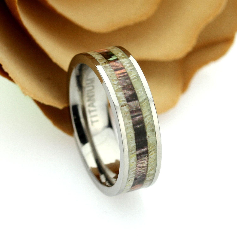 Titanium Wedding Band Women6mmWood Antler InlayTitanium