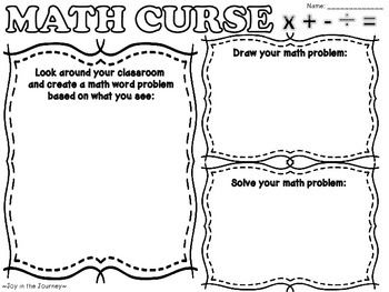 MATH CURSE Task Cards and Activity Packet from Joy in the