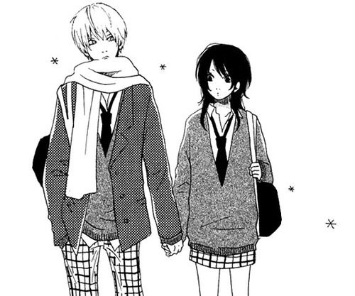 Anime boy couple cute forever girl holding hands love manga school shoujo style together winter fashioj himikoi