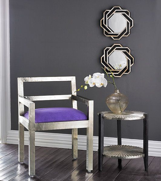 Gray room purple chair ~ This is my favorite color combination ever!