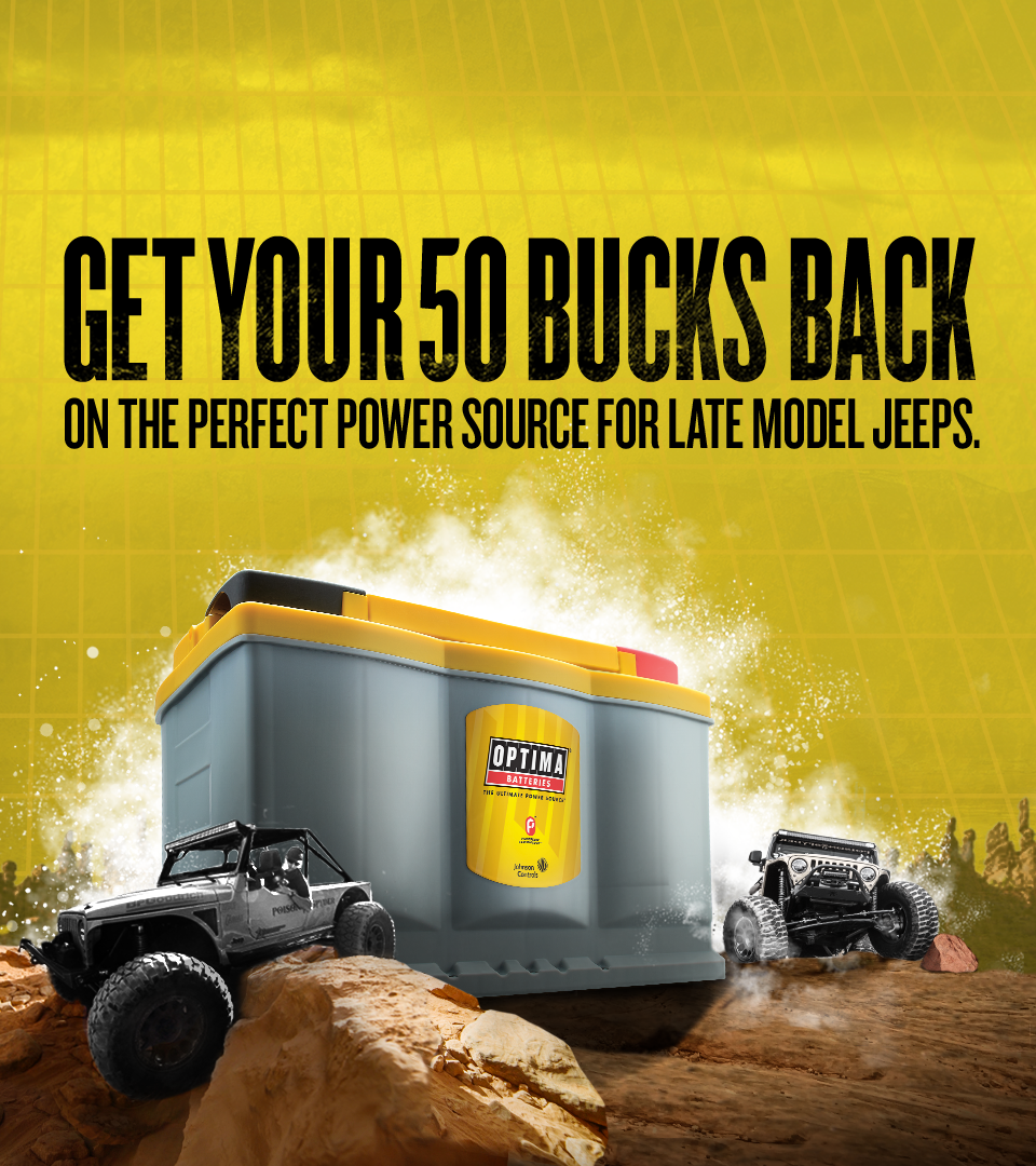 From March 11th Until April 22nd Get A 50 Rebate On All New Optima Battery