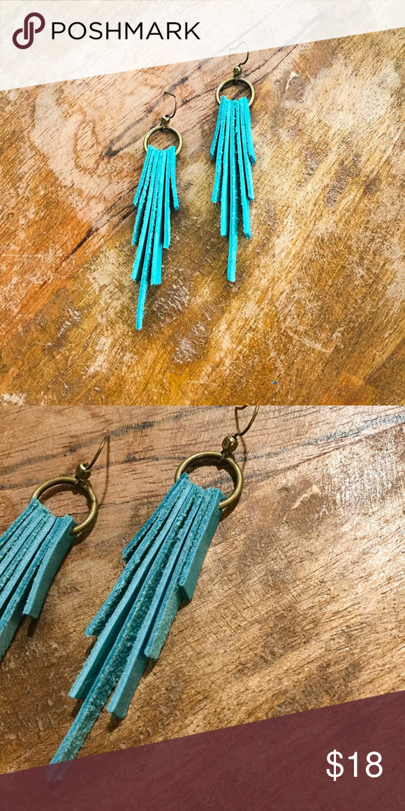 Photo of Turquoise leather drop bar earrings Turquoise solid leather earrings. Strips of …