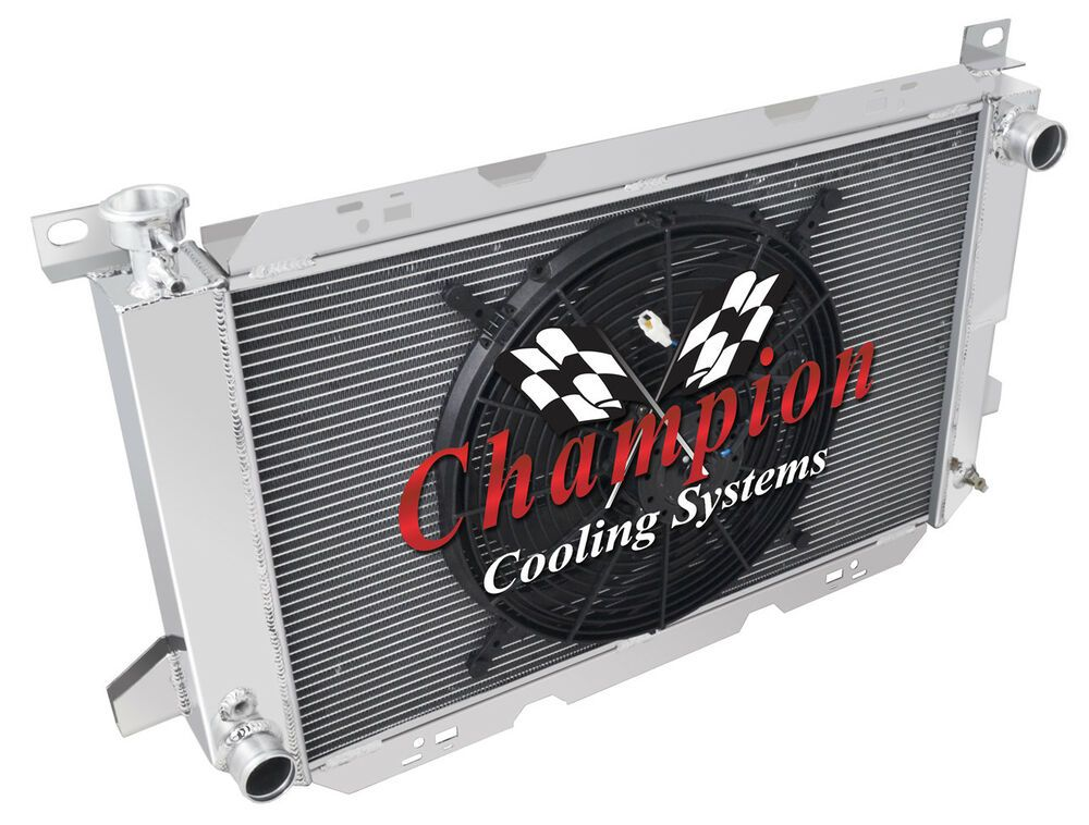 Details About 4 Row Kool Champion Radiator W 16 Fan For 1985 1997 Ford F Series V8 Engine Aluminum Radiator