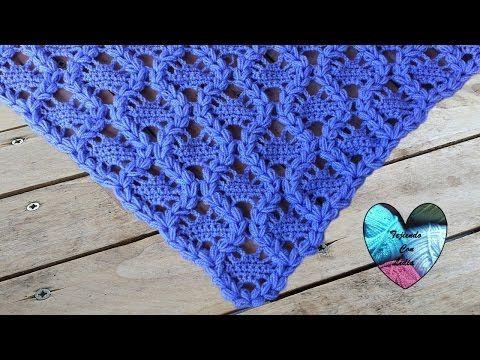 Chal triangular con hermoso diseño / Tutorial Crochet | Crochet ...