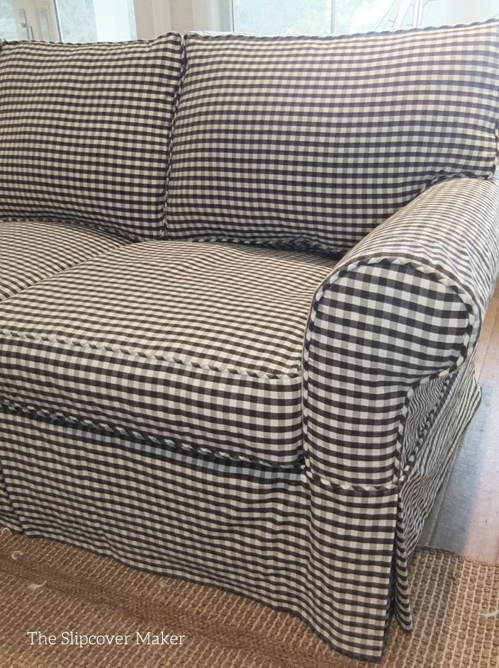 Clic Gingham Slipcover Gives This Old Sofa A Fresh Look Love The Charcoal Antique White Color