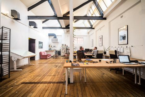 "Architecture Studio Space workspaces are white, passages are black"" at post-'s self-designed"