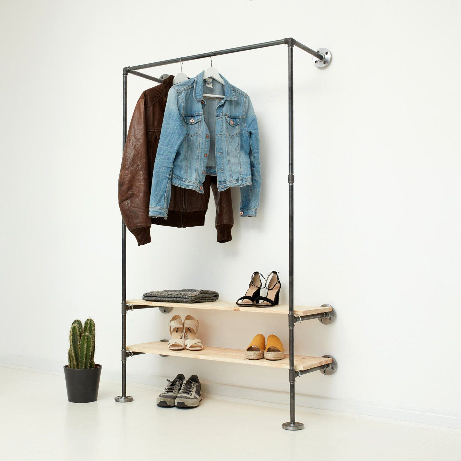 Industrial Clothing Rail Clothes Stand Open Wardrobe Etsy Industrial Design Diy Open Wardrobe Coat Rack Wall