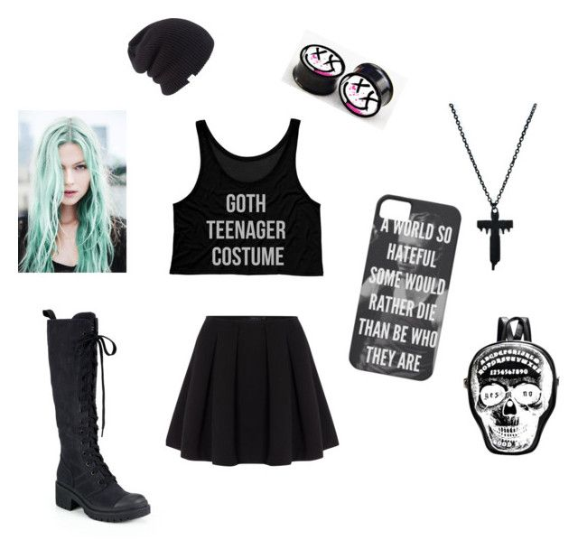 """""""goth teenager costume"""" by jokers-babe ❤ liked on Polyvore featuring Polo Ralph Lauren, Coal and Marc by Marc Jacobs"""