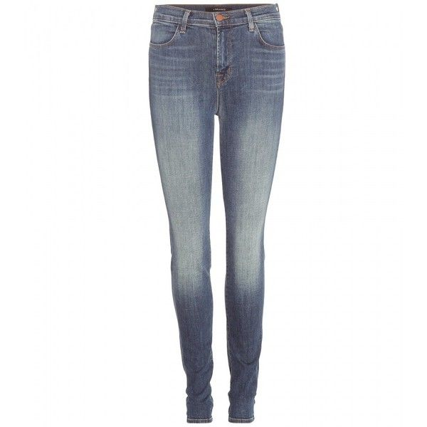 J Brand Maria High-Rise Skinny Jeans (5,240 MXN) ❤ liked on Polyvore featuring jeans, pants, blue, white denim skinny jeans, high rise skinny jeans, white skinny jeans, high-waisted jeans and j-brand skinny jeans