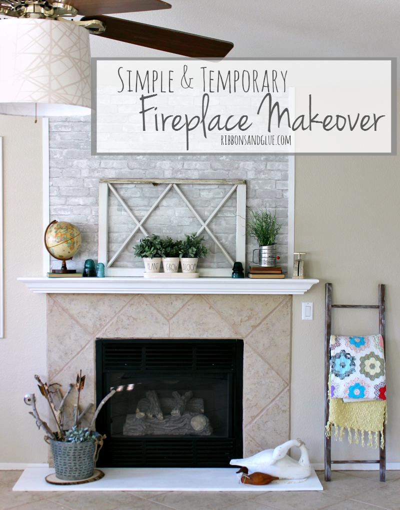 Simple And Temporary Fireplace Makeover Fireplace Makeover Faux Brick Wallpaper Diy Fireplace Makeover