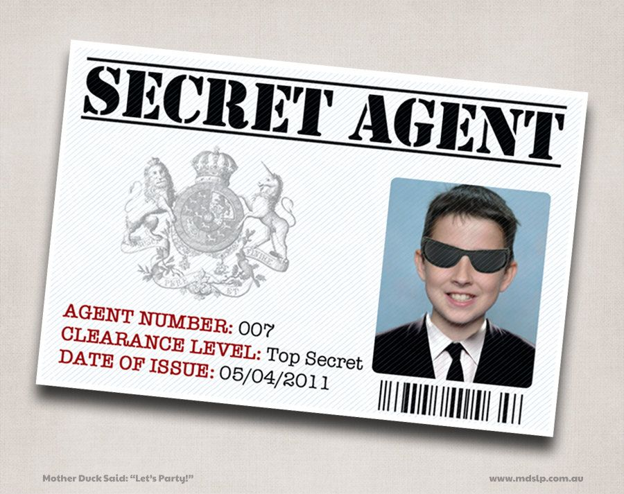 6 Secret Agent / Spy ID Printable Personalized Customized Good ...