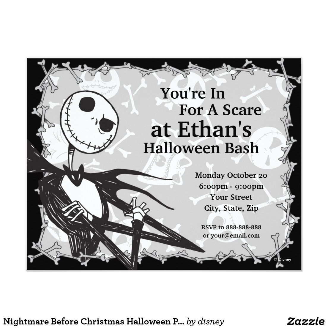 Nightmare Before Christmas Halloween Party 4.25x5.5 Paper Invitation ...