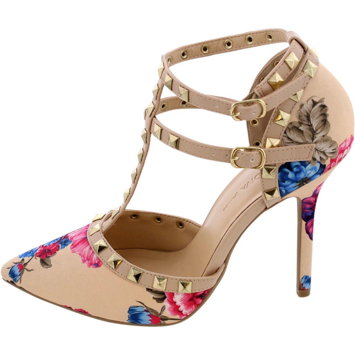 Wild Diva Lounge - Women's Pointy Studded Heel - Beige/Floral ...