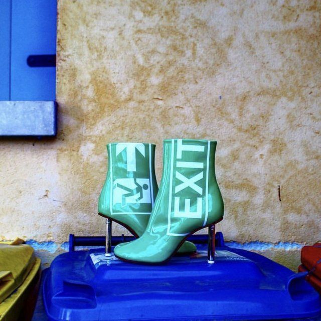 Vetements Green Patent 'Exit' Lighter Boots ydjabs