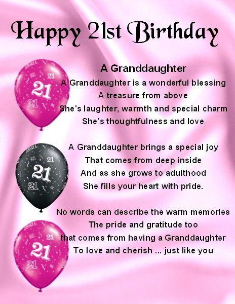 Fridge Magnet Personalised Granddaughter Poem 21st Birthday FREE – Words for 21st Birthday Card