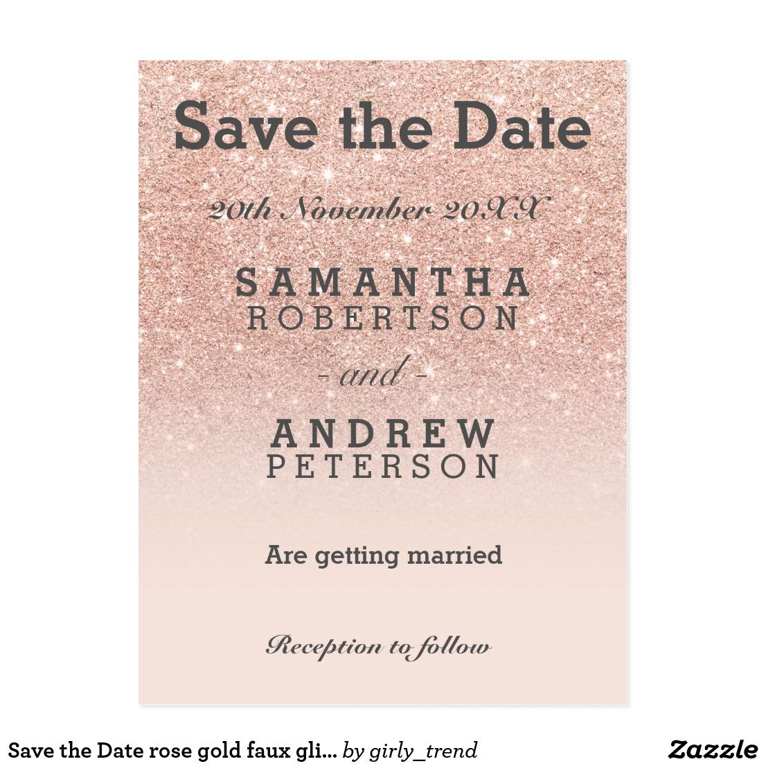 Save the date rose gold faux glitter pink ombre postcard wedding