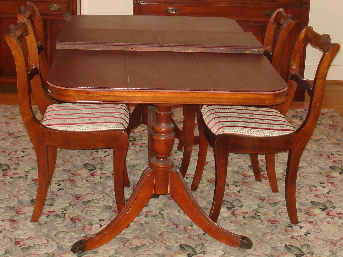 Bernhardt Duncan Phyfe Mahogany Dining Room Set Double Pedestal Table 4  Chairs Leaf Pads - 1930 Duncan Phyfe Antique Mahogany Drop Leaf Dining Table Console