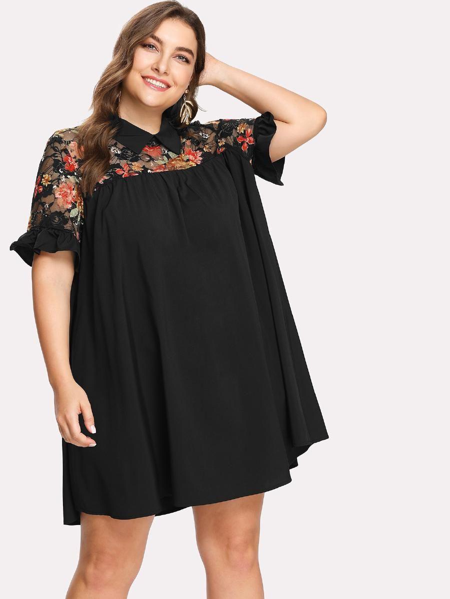 Floral lace shoulder swing dress sheinsheinside plus