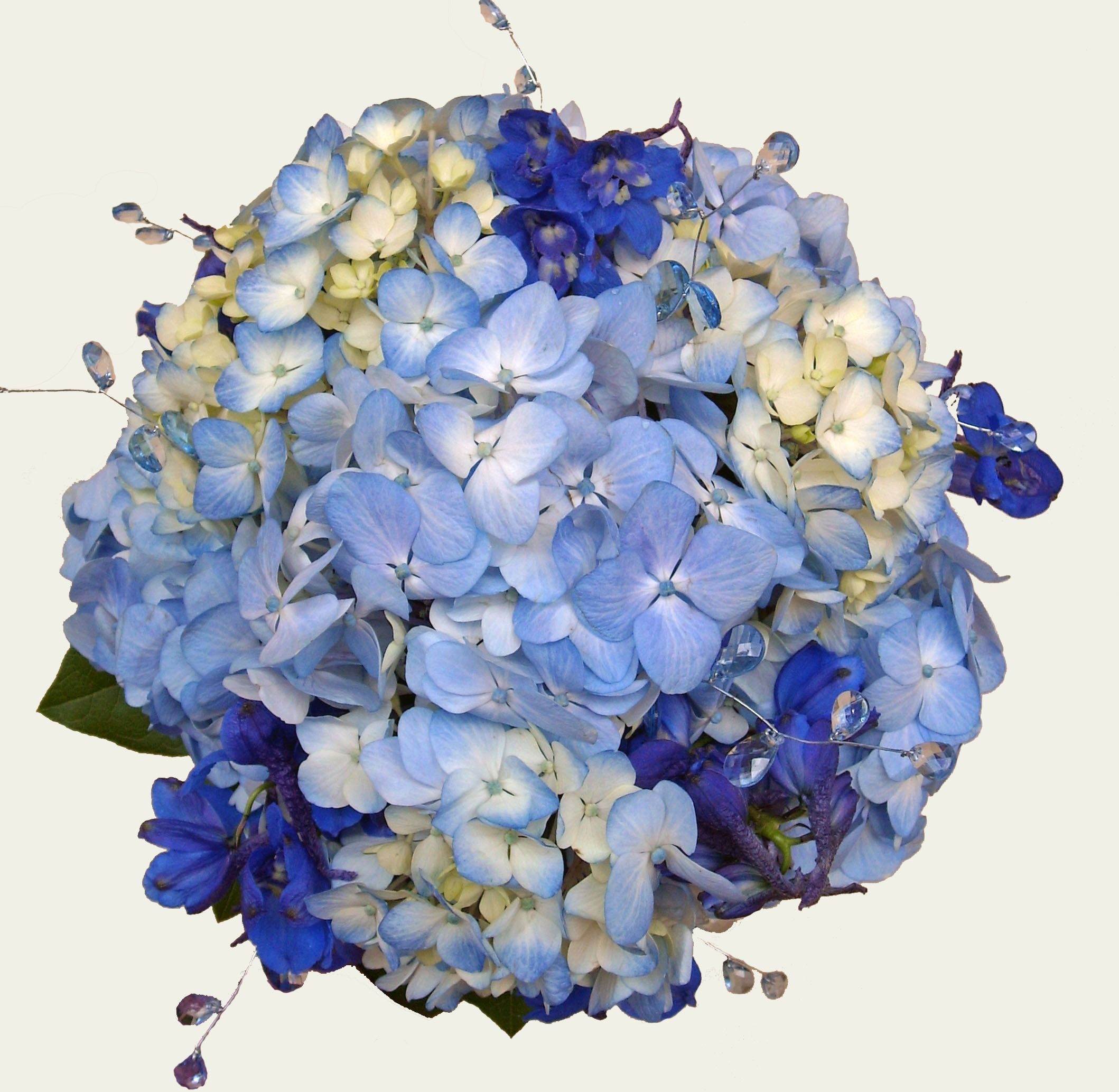 Posy Style Wedding Bouquet With Blue Hydrangea And Dark