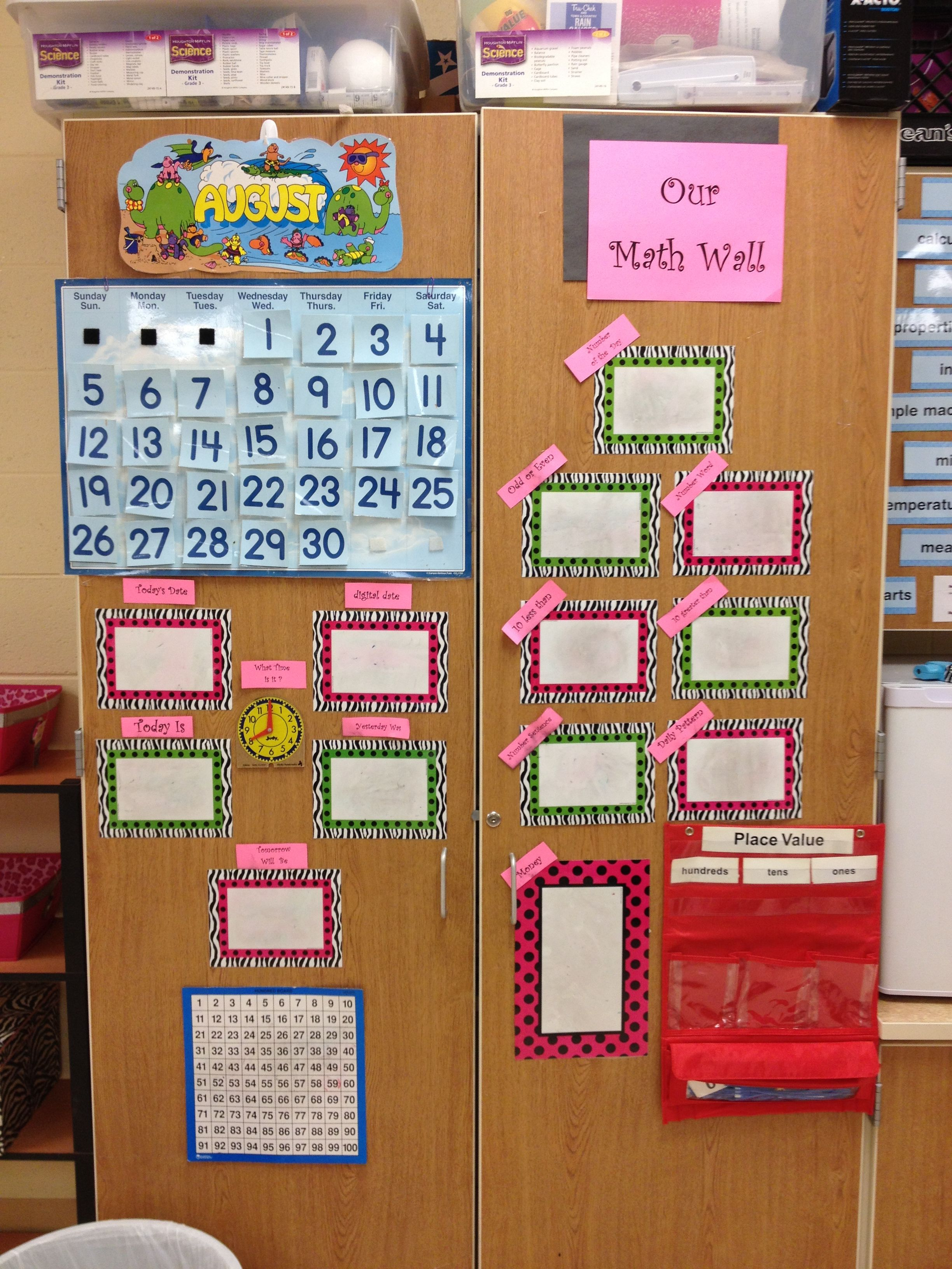 My math wall. Until I get my everyday counts calendar math kit gets here.