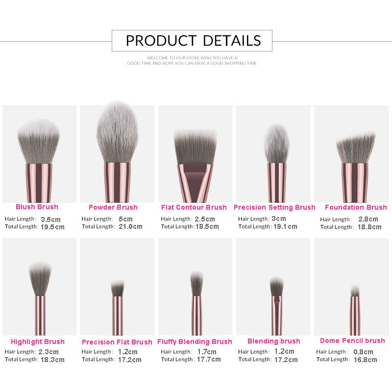 Metallic handle makeup brushes in stock rose gold