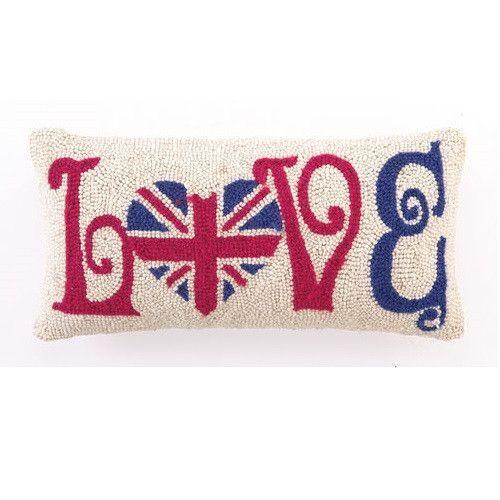Peking Handicraft England Heart Union Jack 9x18 Hook Pillow