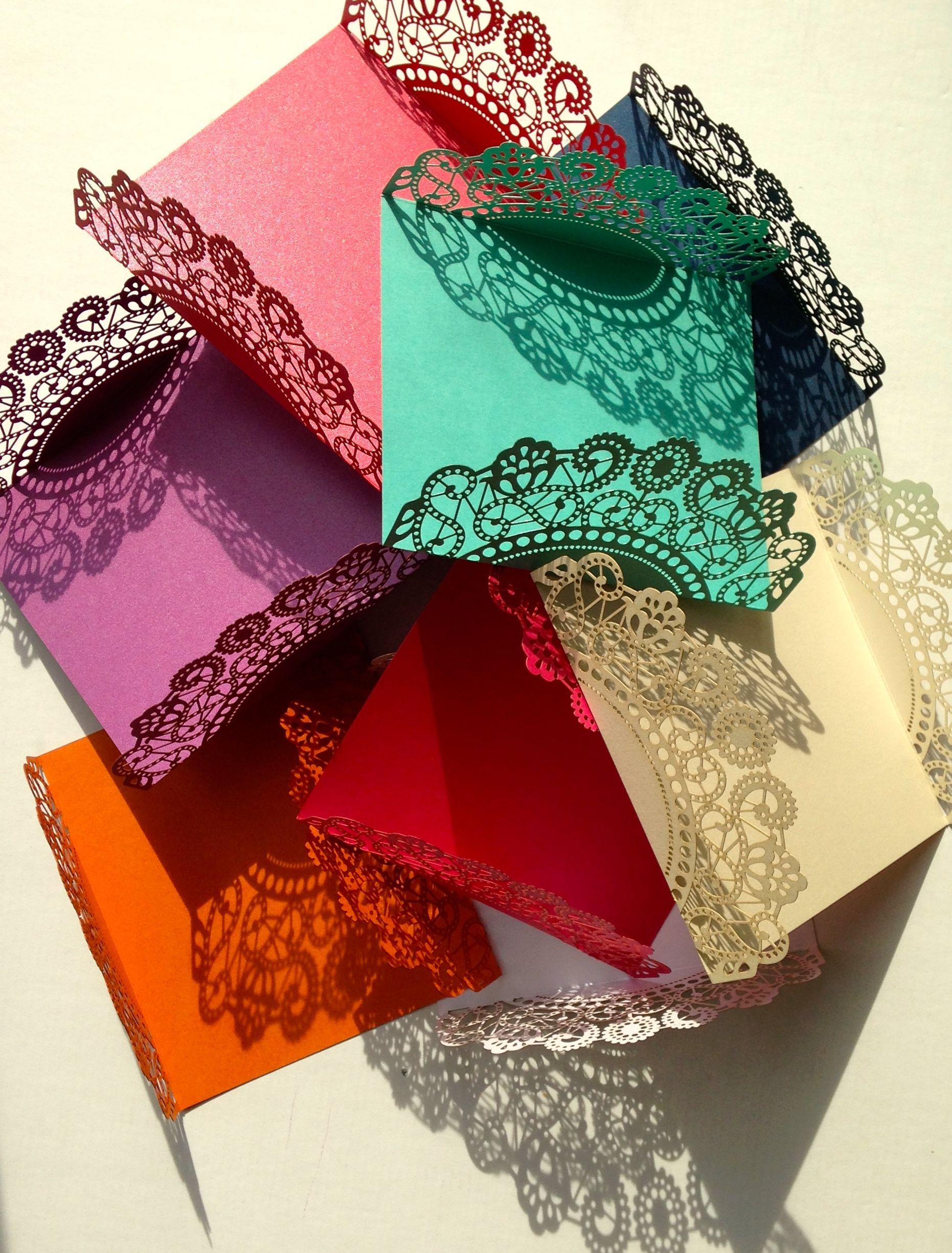 Fabulous new jewel coloured laser cut wedding invitations from www ...
