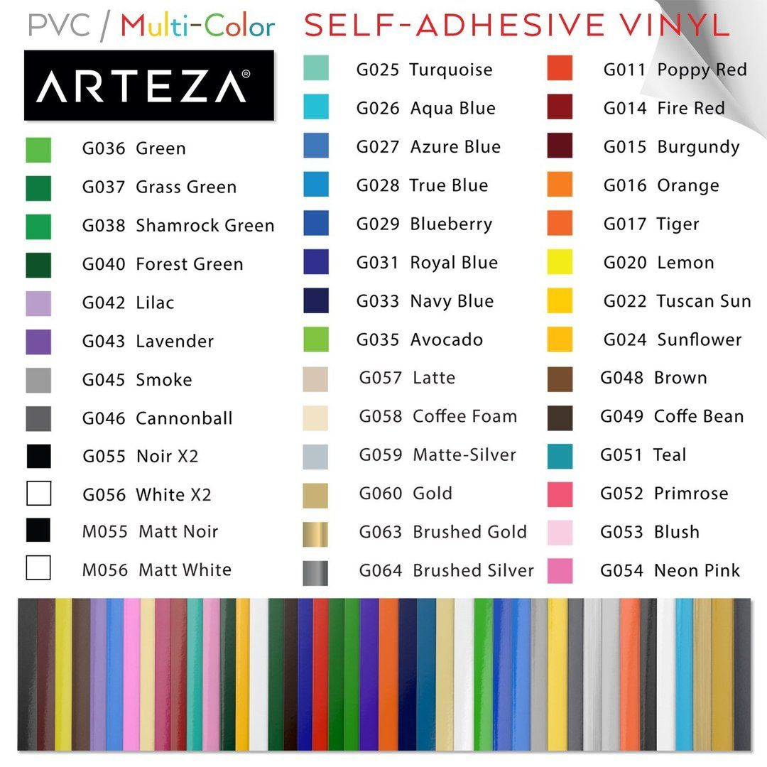 Set Of 42 Premium Multicolor 12 X 12 Self Adhesive Vinyl Sheets Weeds Easily And Can Be Used With All Craft Cutti Adhesive Vinyl Sheets Arteza Adhesive Vinyl