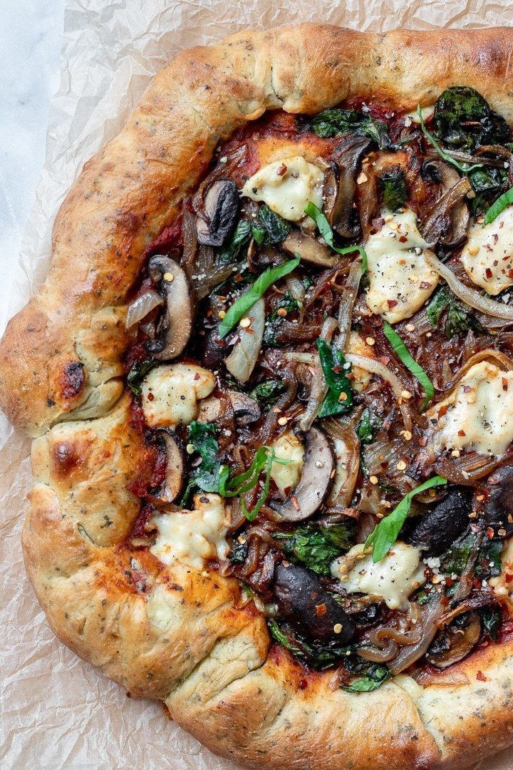 Vegan Stuffed Crust Pizza With Homemade Mozzarella and Herb Crust Vegan Stuffed Crust Pizza! With quick and easy vegan cheese, a crisp yet chewy herb crust, and caramelized onion, mushrooms and spinach, it's time for pizza night!