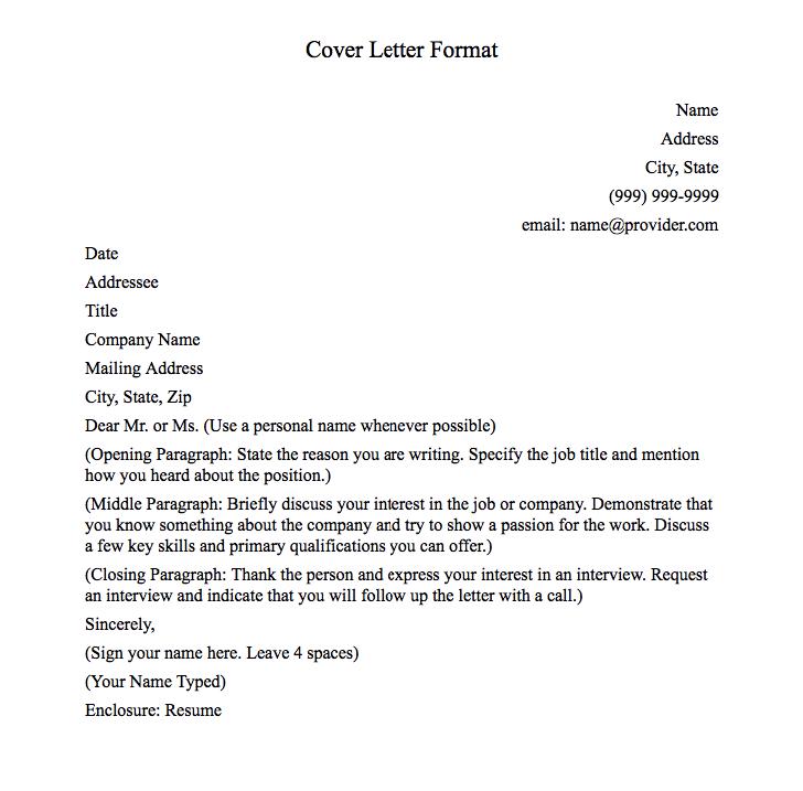 Cover Letter Format Cover Letter Format Basic Name Address City