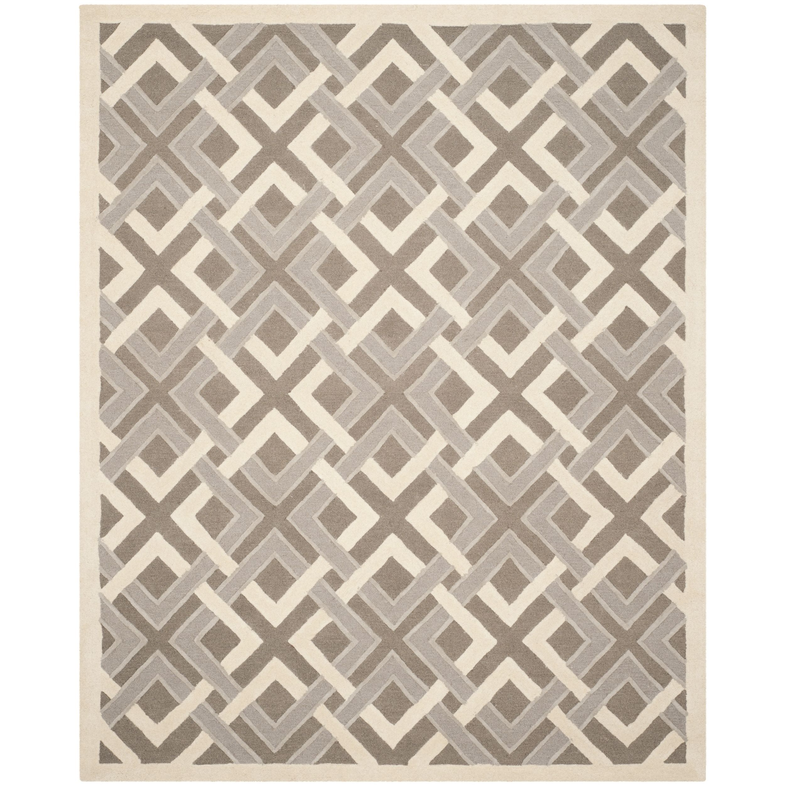 Martha Stewart By Safavieh Woven Lattice Taupe Ivory Wool Rug 8