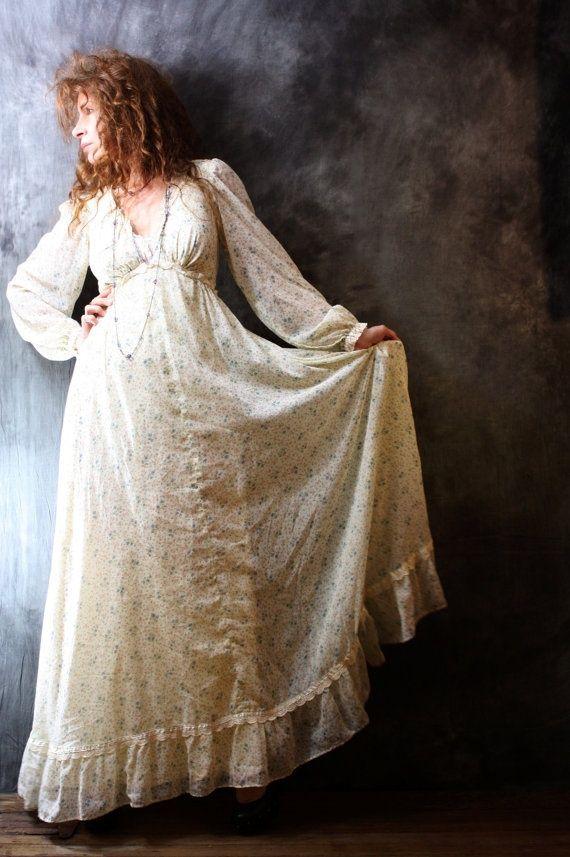 photos of  romantic hippi dresses   Vintage 1970s Romantic Hippie Bohemian Dress Lace by ...   Stylish
