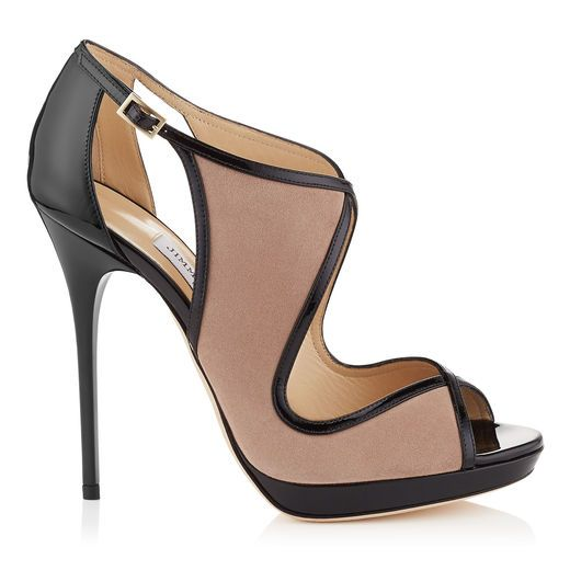 JIMMY CHOO Leondra 120 Ballet Pink Suede And Black Patent Sandals