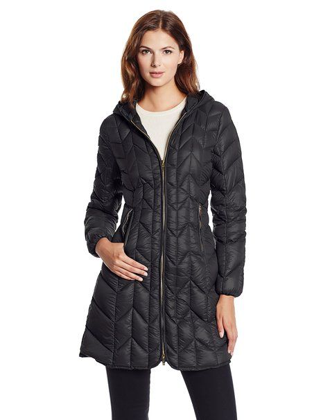 Via Spiga Women's Long Packable Chevron Down-Filled Hooded Coat, Black, X-Small