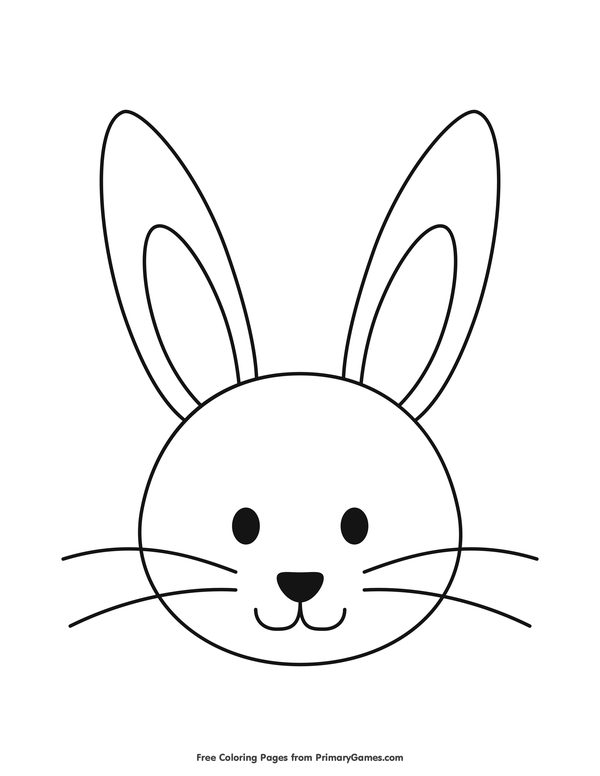 Easter Coloring Pages eBook: Simple Bunny Head Outline ...